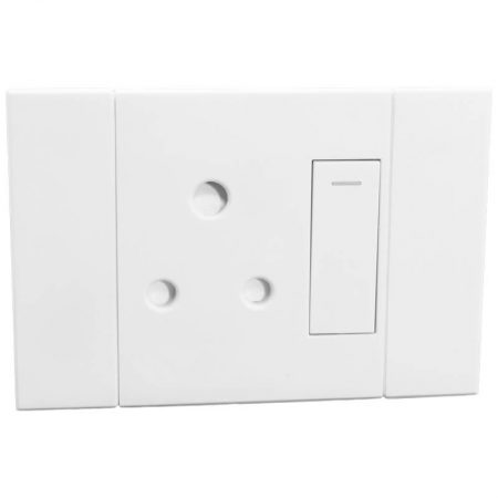 Horizontal Single 16A RSA Socket White 1