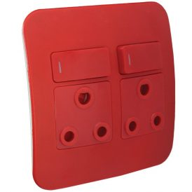 Double Dedicated Red Socket With DP Switch 9